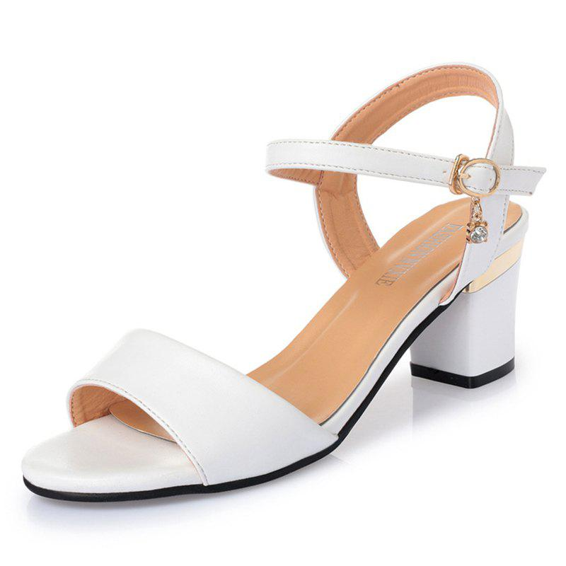 Summer Women PU Casual Block Heel Sandals Solid Color Wild Shoes apoepo brand women sandals ankle wrap white high heels sandals solid cut outs summer women shoes cross tied sandalias mujer