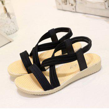 Women Summer Low-Heeled Elastic Straps Sandals Beach Flat Shoes - BLACK 40
