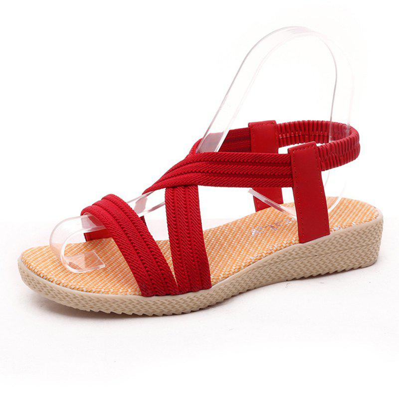 Women Summer Low-Heeled Elastic Straps Sandals Beach Flat Shoes 2018 summer casual women sandals flat with shoes bandage bohemia leisure lady sandals peep toe women s summer footwear shoes