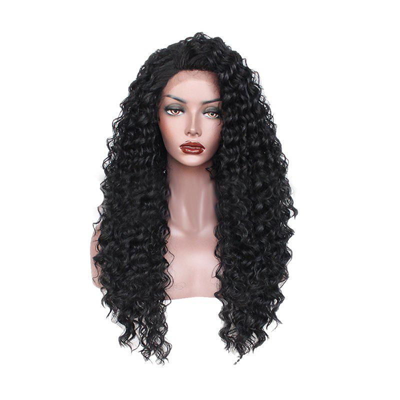 Long Black Small Roll Chemical Fiber Front Lace Wig - BLACK 24INCH