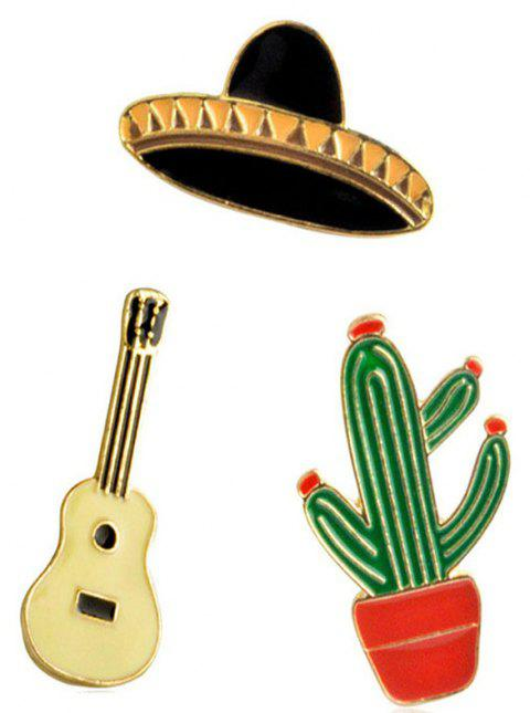 New Style Potted Cactus Guitar Planet Hat Brooch - multicolor