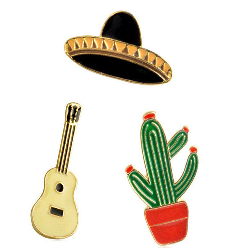 New Style Potted Cactus Guitar Planet Hat Brooch цена