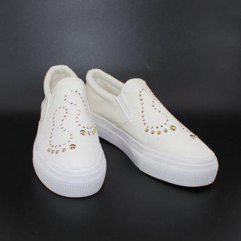 Foot Sequins Slip On Plimsolls - WHITE 37