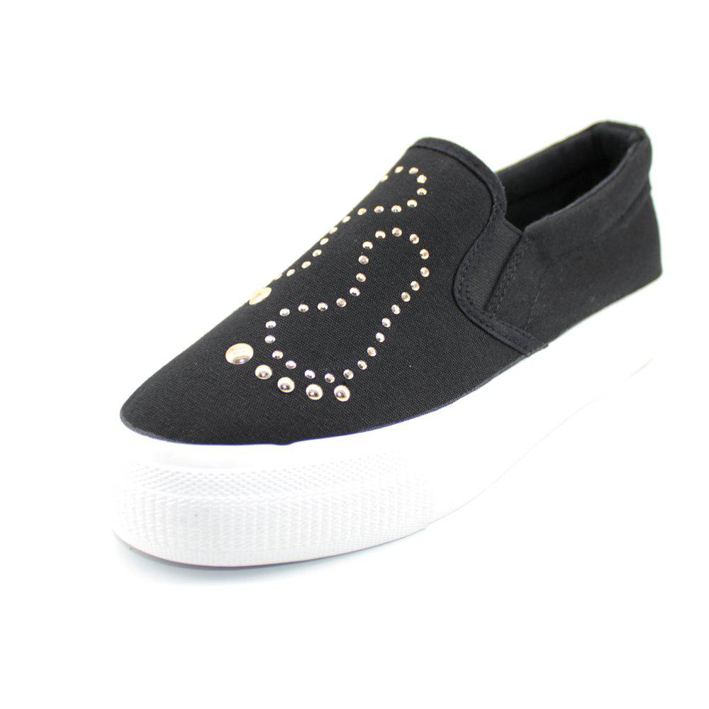 Foot Sequins Slip On Plimsolls - BLACK 38
