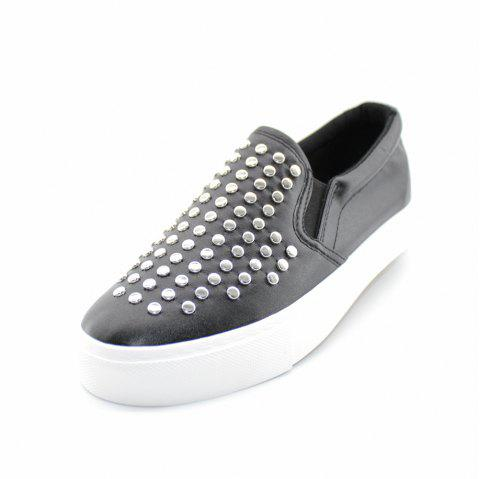 Round Head Nail Pu Sneakers - BLACK 39