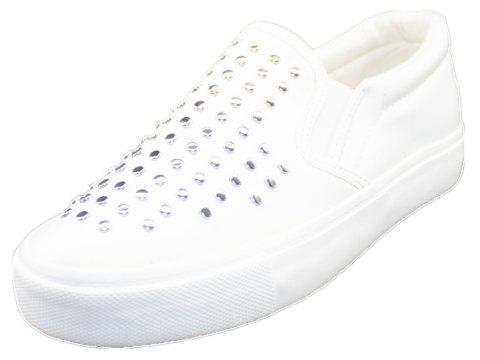 Round Head Nail Pu Sneakers - WHITE 37