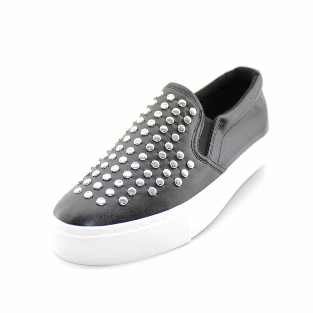 Round Head Nail Pu Sneakers - BLACK 40