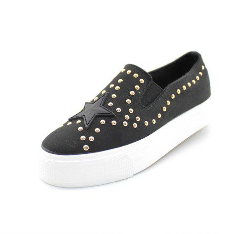 Round Head Nailing Pentagram Sequins Sneakers - BLACK 40