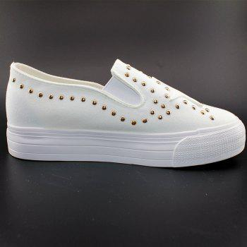 Round Head Nailing Pentagram Sequins Sneakers - WHITE 40