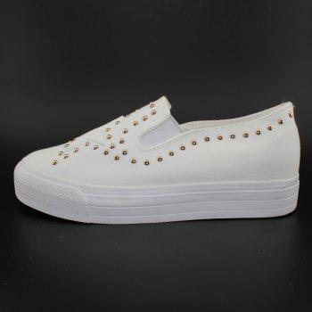 Round Head Nailing Pentagram Sequins Sneakers - WHITE 36