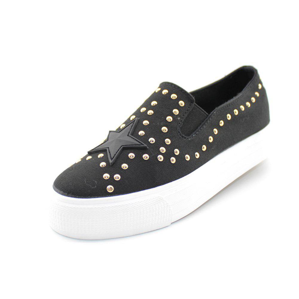 Round Head Nailing Pentagram Sequins Sneakers - BLACK 39