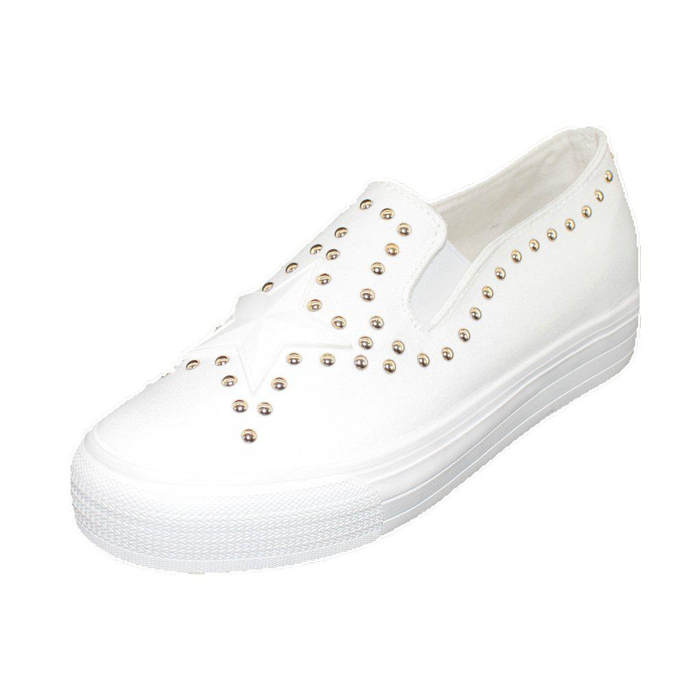 Round Head Nailing Pentagram Sequins Sneakers - WHITE 37