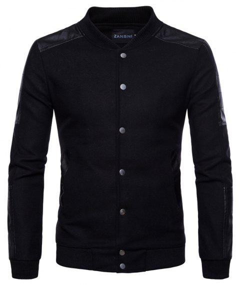 New Pattern Stand Collar Split Joint A Single Color Man Coat - BLACK M