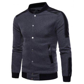 New Pattern Stand Collar Split Joint A Single Color Man Coat - GRAY M