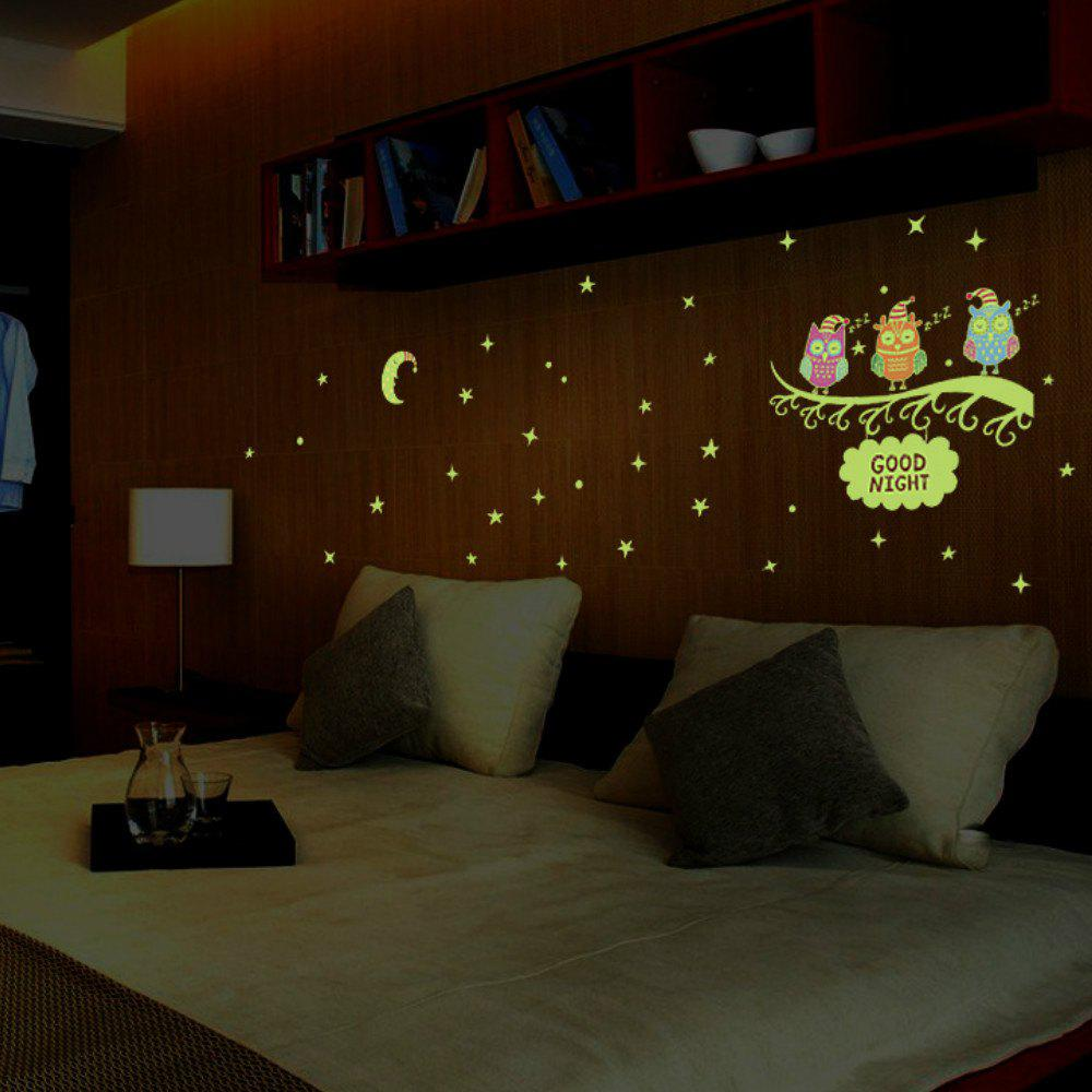 Luminous Owl Fluorescent Kids Room Funny Wall Stickers 3d flower fairy style kids room decoration luminous stickers multicolor