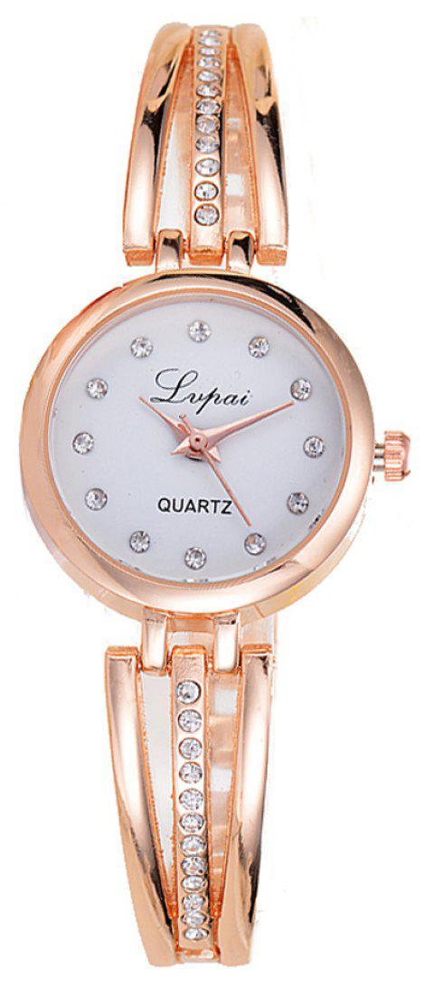 Lvpai P173 Women Alloy Quartz Wrist Watch with Rhinestones - GOLD