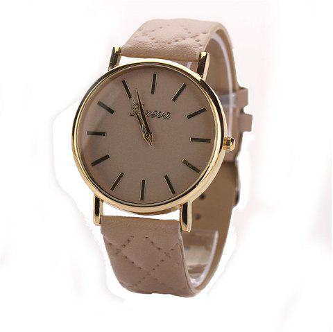 Geneva XR781 Women Men Analog Quartz Leather Wrist Watch - BEIGE