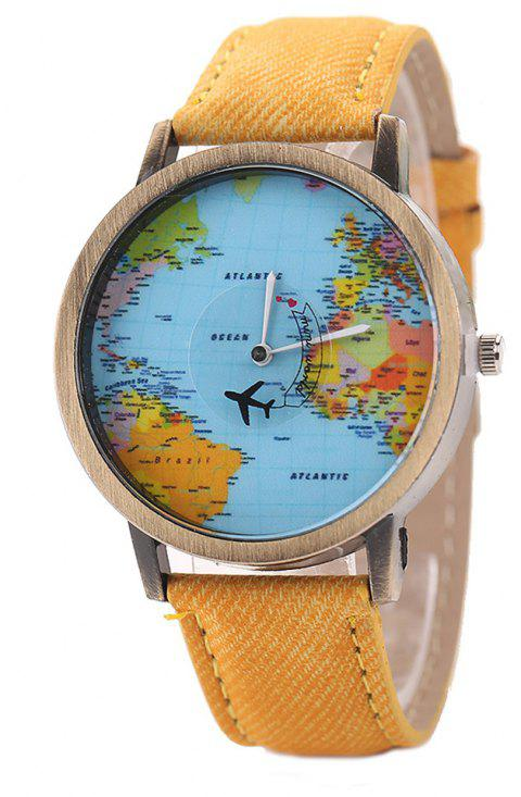 XR1105 Men Simple Vintage Jean Canvas with PU Band Map Watch - YELLOW