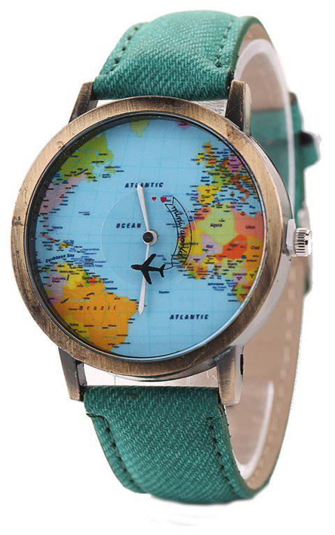 XR1105 Men Simple Vintage Jean Canvas with PU Band Map Watch - GREENISH BLUE