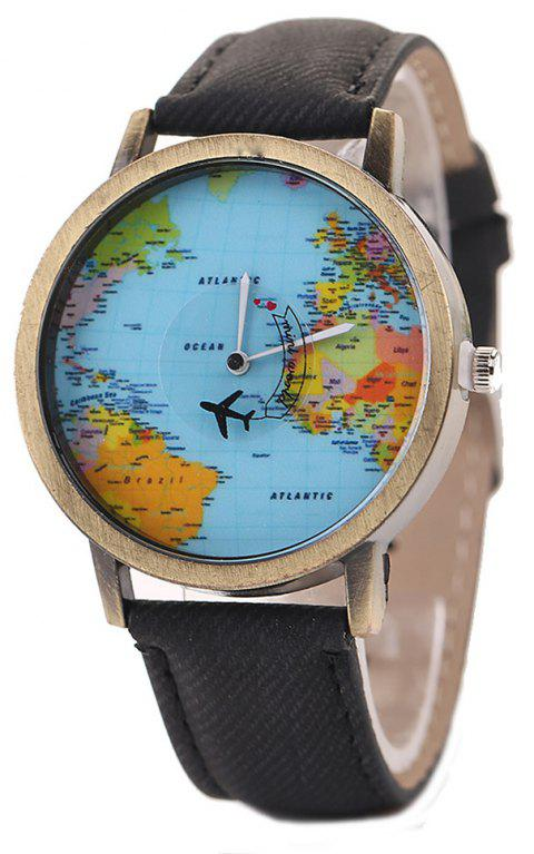 XR1105 Men Simple Vintage Jean Canvas with PU Band Map Watch - BLACK