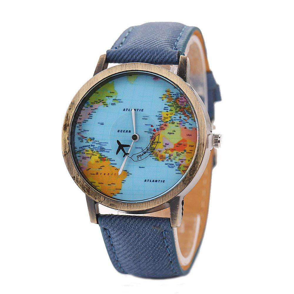 XR1105 Men Simple Vintage Jean Canvas with PU Band Map Watch - BLUE
