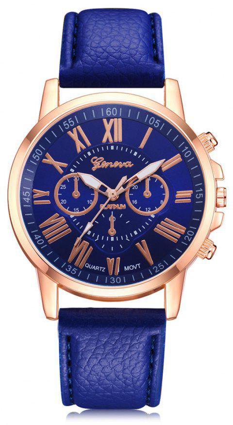 Geneva XR740 Women Simple Analog Quartz PU Leather Wrist Watch - BLUE
