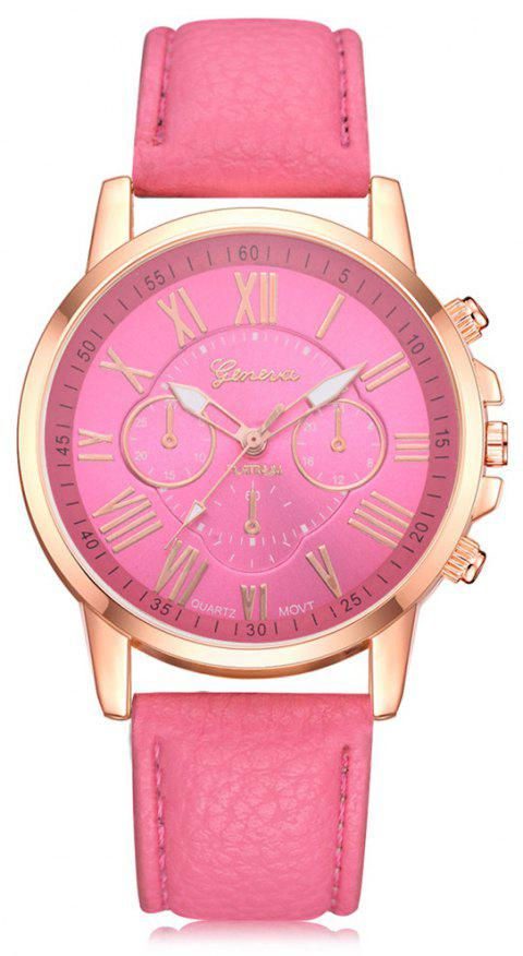 Geneva XR740 Women Simple Analog Quartz PU Leather Wrist Watch - ROSE RED