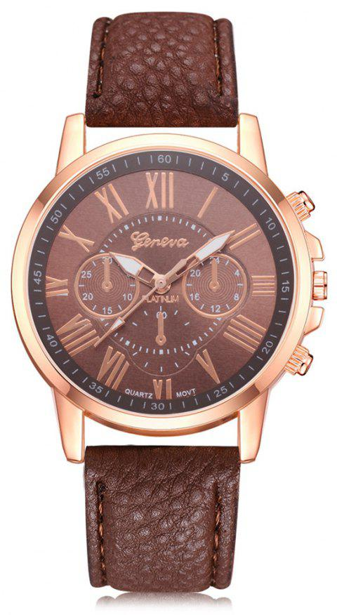 Geneva XR740 Women Simple Analog Quartz PU Leather Wrist Watch - BROWN