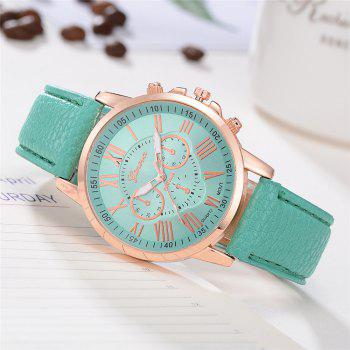 Geneva XR740 Women Simple Analog Quartz PU Leather Wrist Watch - BLUE GREEN