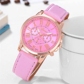 Geneva XR740 Women Simple Analog Quartz PU Leather Wrist Watch - PINK