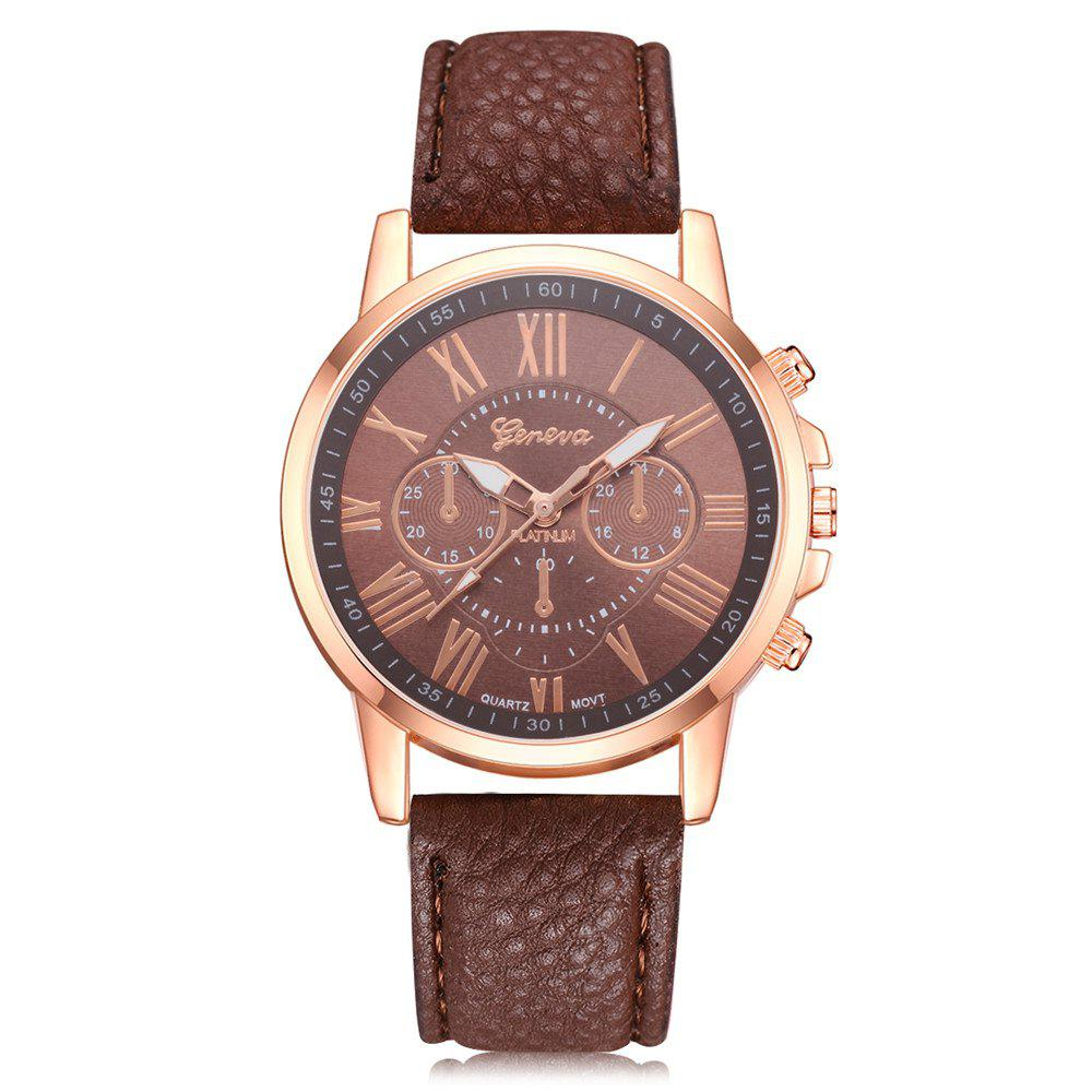 Geneva XR740 Women Simple Analog Quartz PU Leather Wrist Watch top sale montre femme quartz watch women s fashion geneva roman numerals faux leather analog wrist watch relogios femininos yo1