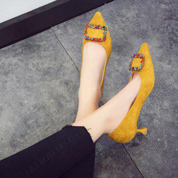 Spike Low Heelswater Drill Cat and Girl Shoes - YELLOW 38