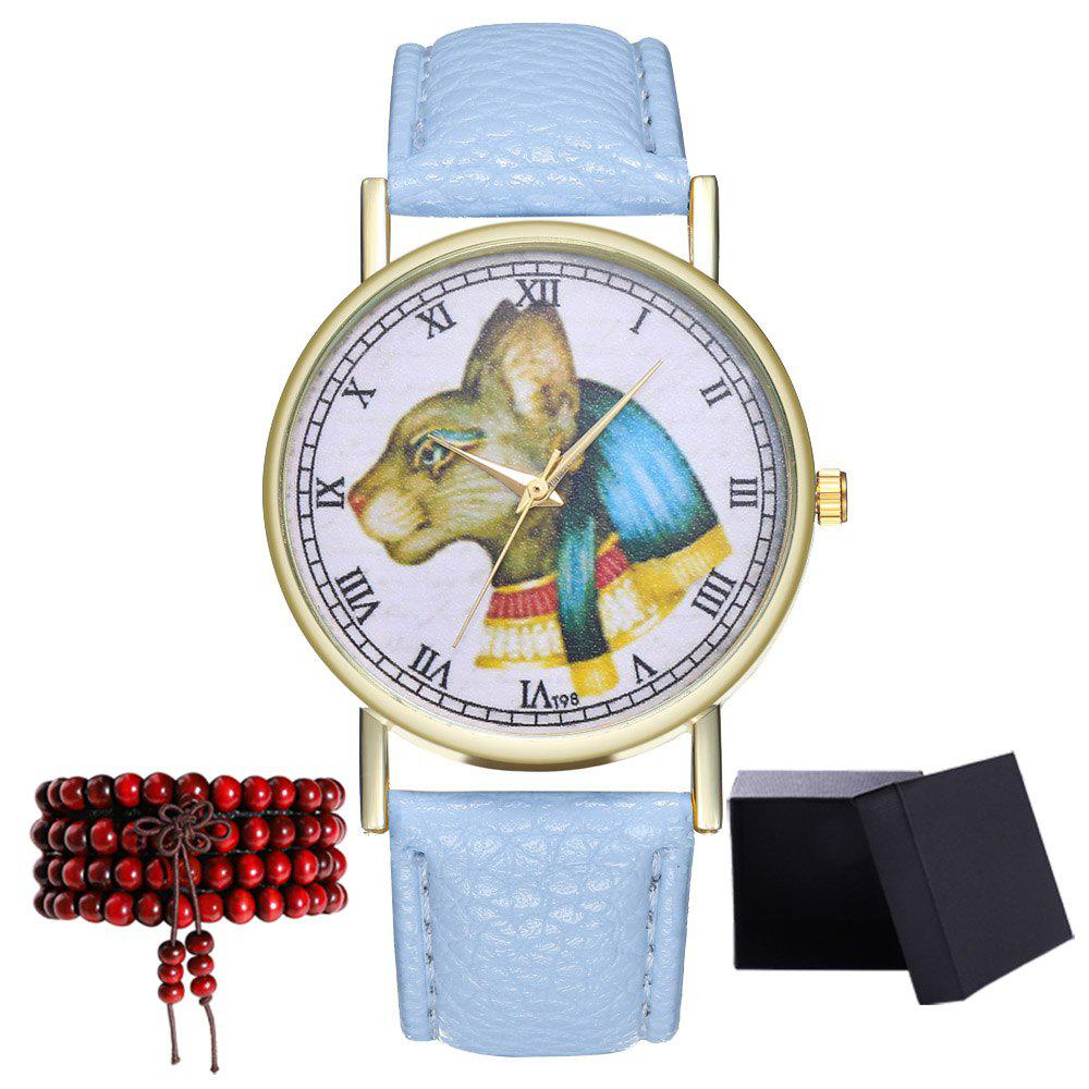 Kingou T98 Fashion Creative Cat Pattern Quartz Watch - LIGHT BLUE