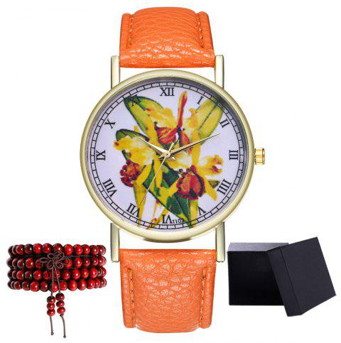 Kingou T102 Fashion Beautiful Plant Pattern Quartz Watch - ORANGE