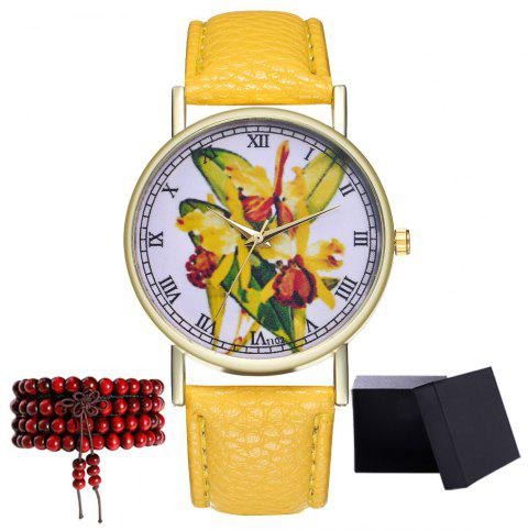 Kingou T102 Fashion Beautiful Plant Pattern Quartz Watch - YELLOW