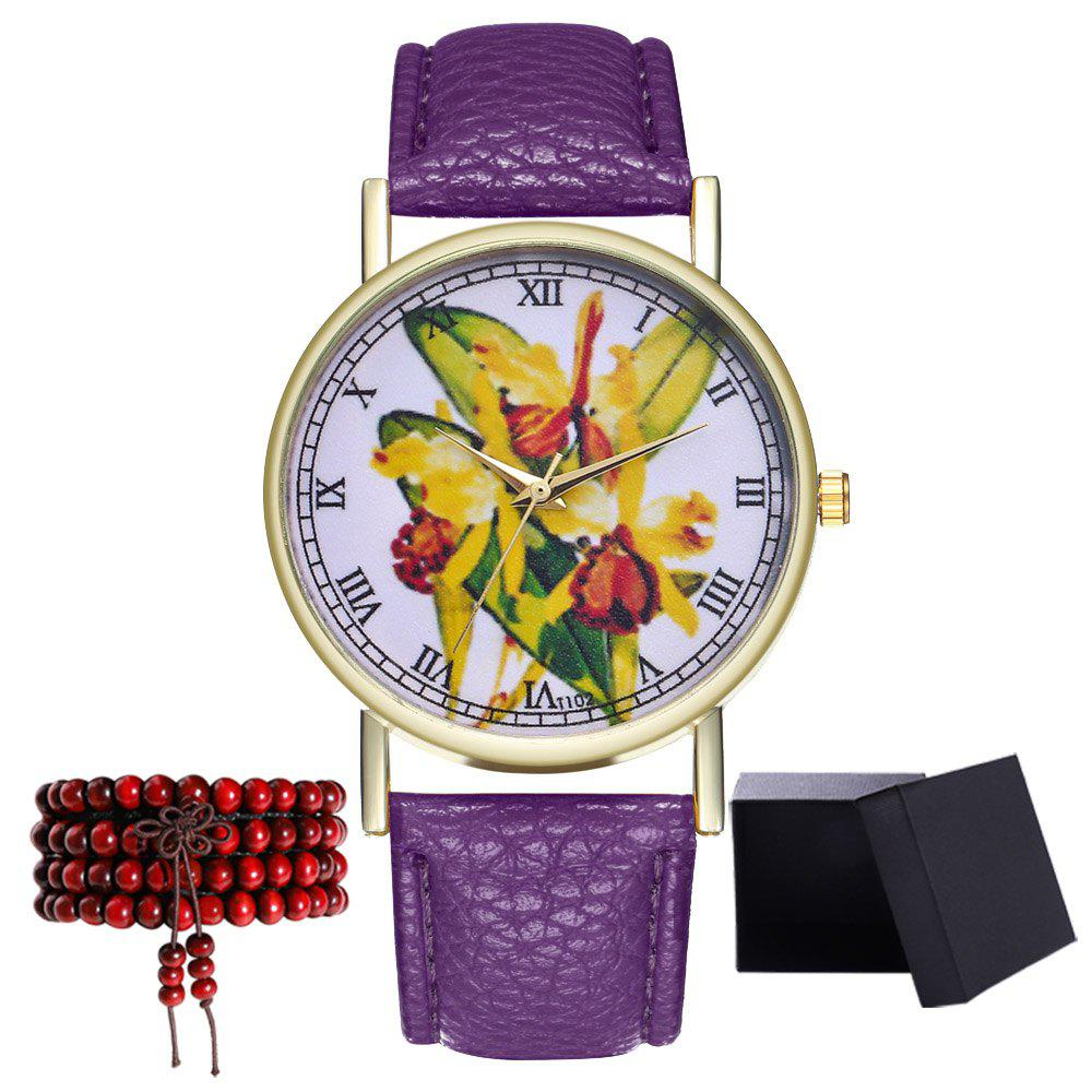 Kingou T102 Fashion Beautiful Plant Pattern Quartz Watch - VIOLET