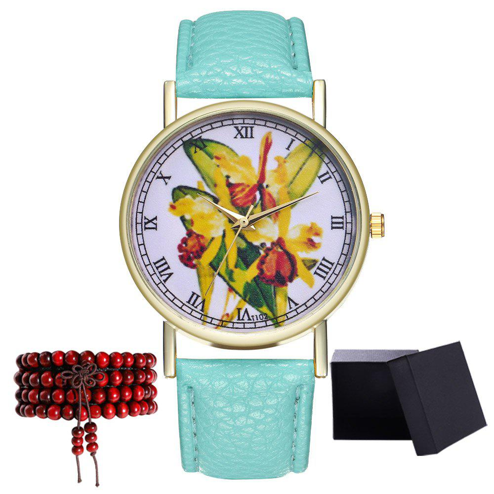 Kingou T102 Fashion Beautiful Plant Pattern Quartz Watch - MINT GREEN