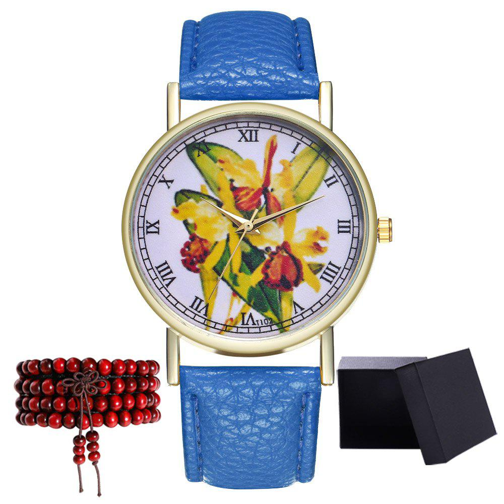 Kingou T102 Fashion Beautiful Plant Pattern Quartz Watch - ROYAL BLUE