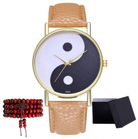 Kingou T363 Fashion Creative Black and White Pattern Lychee Quartz Watch - LIGHT BROWN