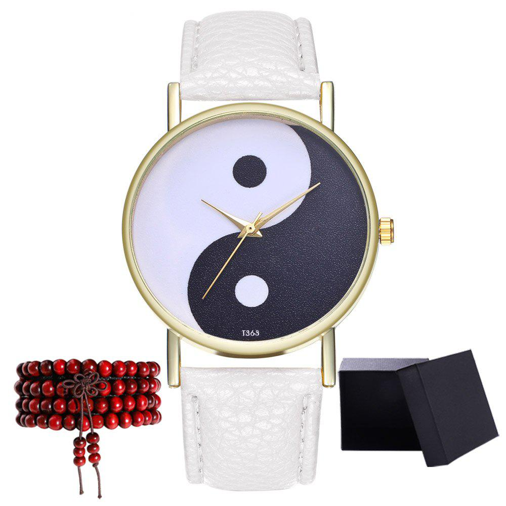 Kingou T363 Fashion Creative Black and White Pattern Lychee Quartz Watch - WHITE