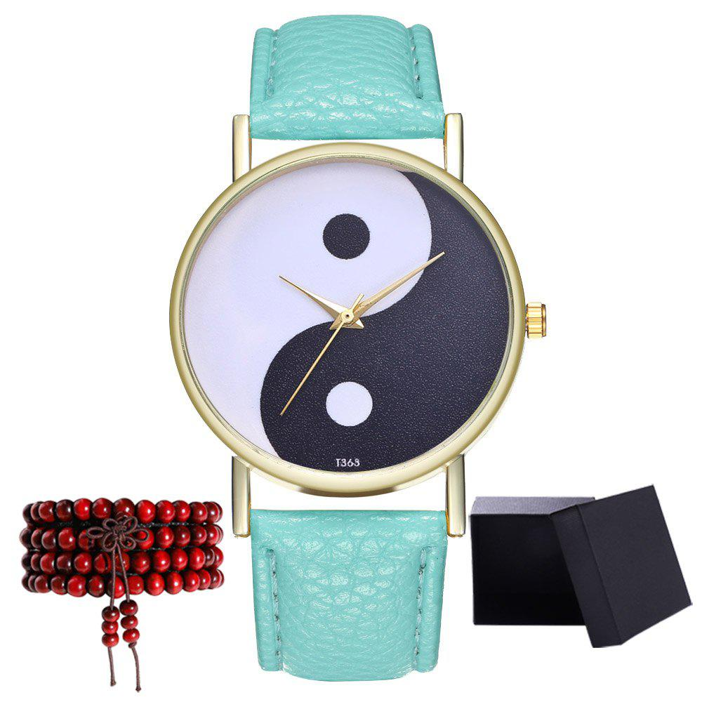Kingou T363 Fashion Creative Black and White Pattern Lychee Quartz Watch - MINT GREEN