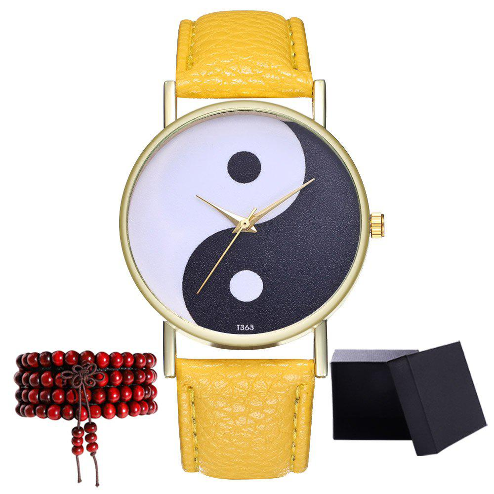 Kingou T363 Fashion Creative Black and White Pattern Lychee Quartz Watch - YELLOW