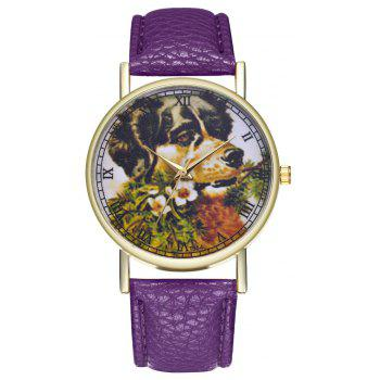 Kingou T364 Fashion Beautiful Dog Head Pattern Litchi Quartz Watch - VIOLET