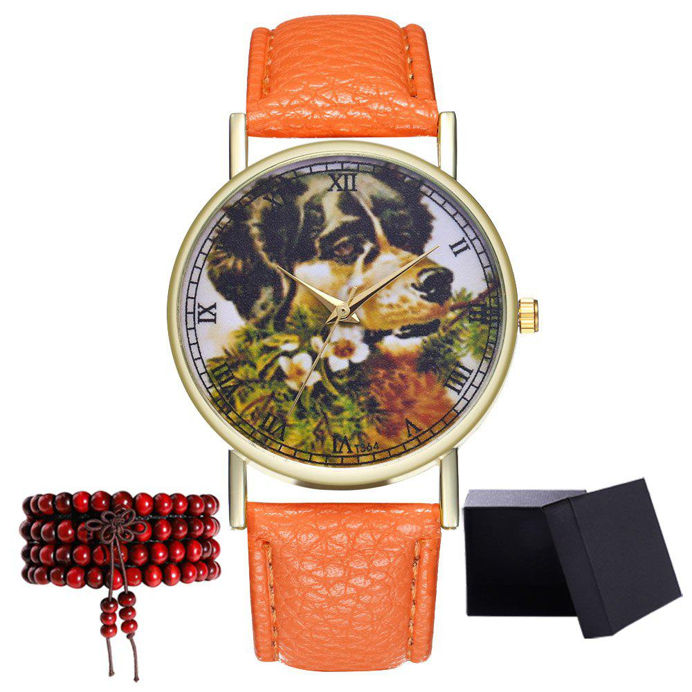 Kingou T364 Fashion Beautiful Dog Head Pattern Litchi Quartz Watch - ORANGE