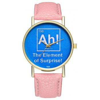Kingou T366 Stylish Beautiful Letter Pattern Lychee Quartz Watch - PINK