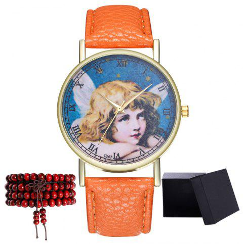 Kingou T367 Fashion Exquisite Figure Pattern Lychee Quartz Watch - ORANGE