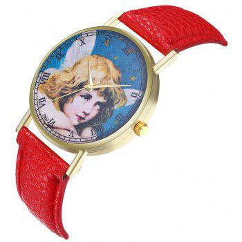 Kingou T367 Fashion Exquisite Figure Pattern Lychee Quartz Watch - RED