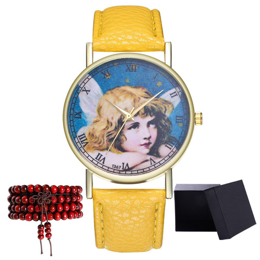 Kingou T367 Fashion Exquisite Figure Pattern Lychee Quartz Watch - YELLOW