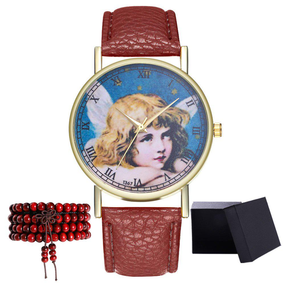 Kingou T367 Fashion Exquisite Figure Pattern Lychee Quartz Watch - DEEP COFFEE