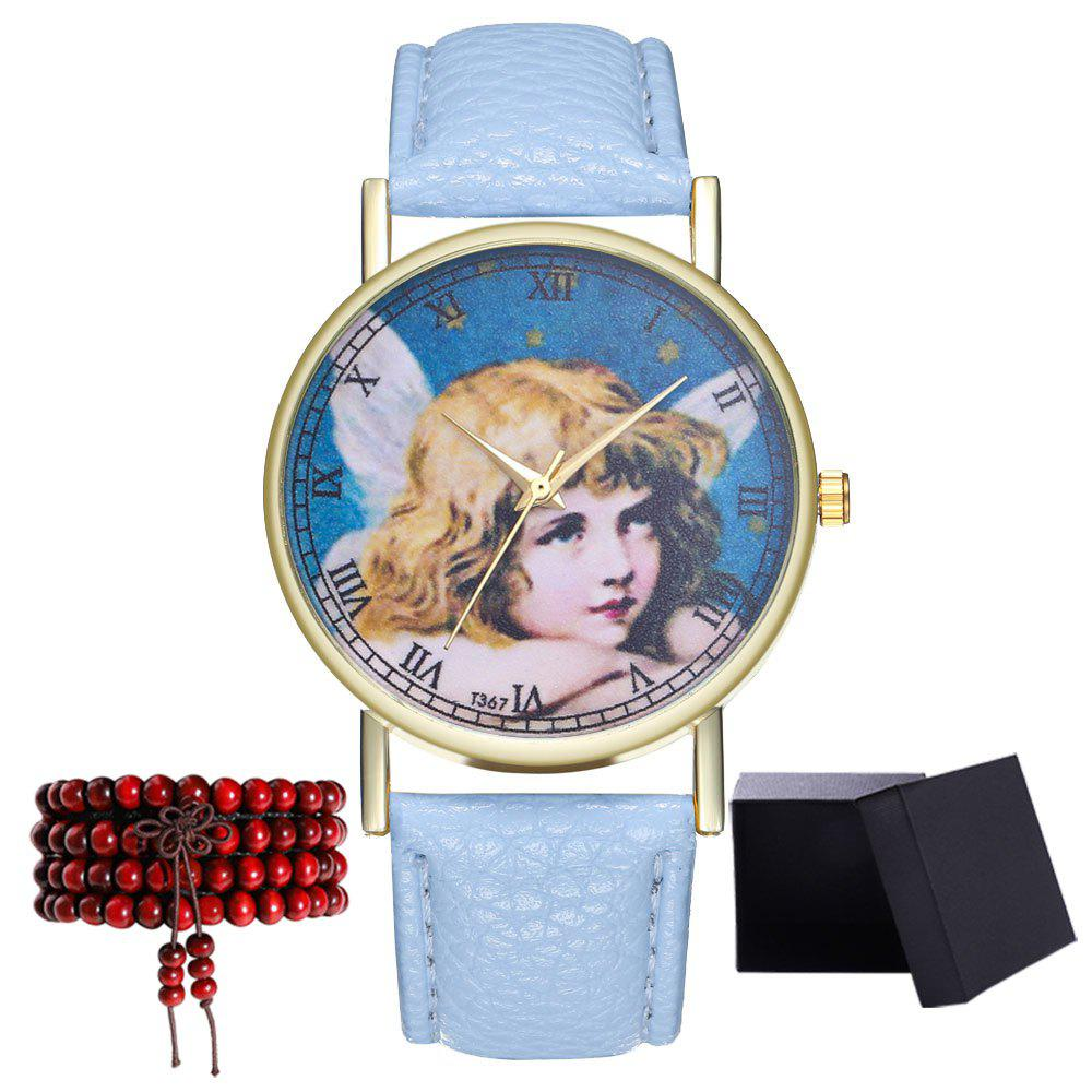 Kingou T367 Fashion Exquisite Figure Pattern Lychee Quartz Watch - LIGHT BLUE